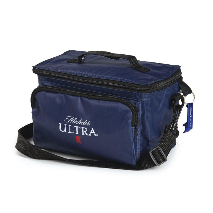 Navy Blue Cooler features convenient carrier handle, shoulder strap, zippered pocket, rear mesh pocket, and branded wrench opener. Michelob Ultra Screened logo in white.