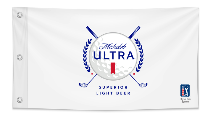 Official PGA Flag with Gold ball image and Michelob Ultra branding