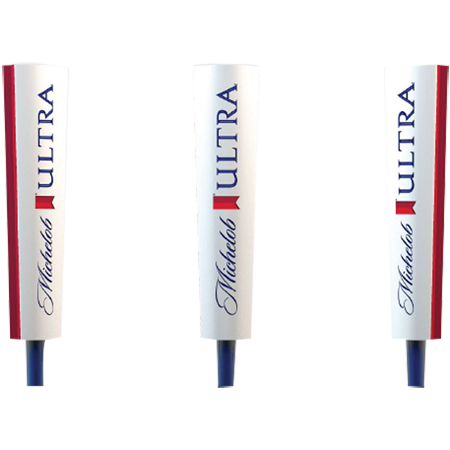 White Michelob Ultra branded Tap handle. Signature script logo with Red Ribbon