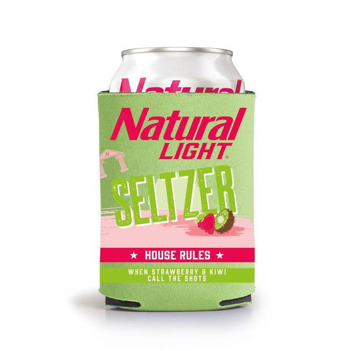 Natural Light Seltzer House Rules Strawberry & Kiwi Can Coolie