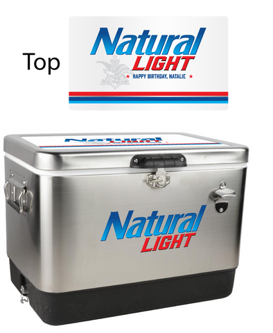 Natural Light Stainless Steel Personalized 54 qt Cooler