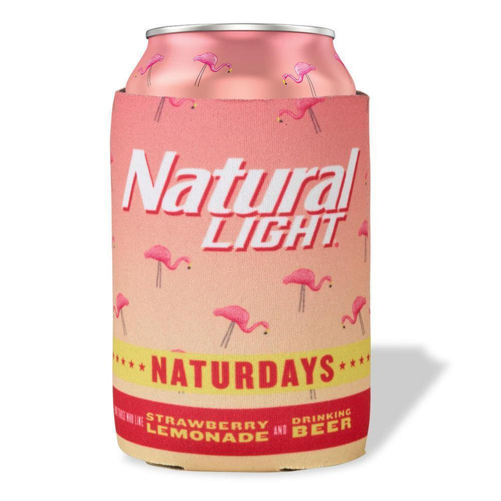 Brightly colored pink Naturdays Strawberry Lemonade beer coolie. Decorated with Flamingo pattern