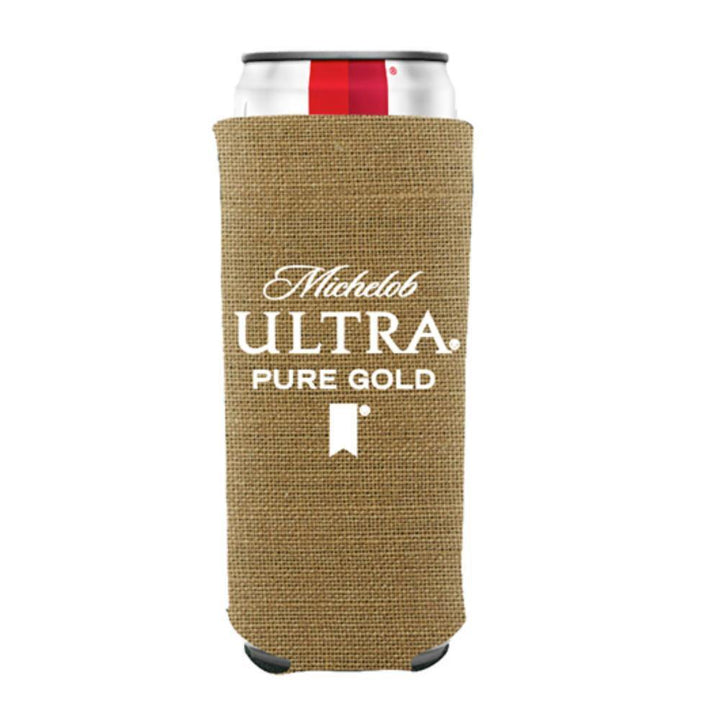 Burlap Coolie made from all natural materials.  Carries the Michelob Ultra Pure Gold logo in white on the front