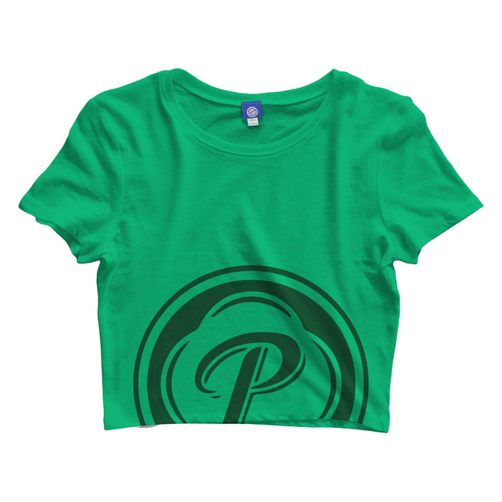 ladies green presidente crop t shirt with the presidente logo in a forest green covering the bottom half of the shirt
