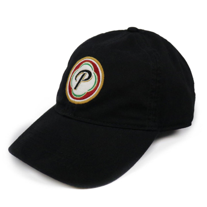 "Black Hat with Presidente Lager beer ""P"" logo in colorful logo patch on front. Relaxed fit."