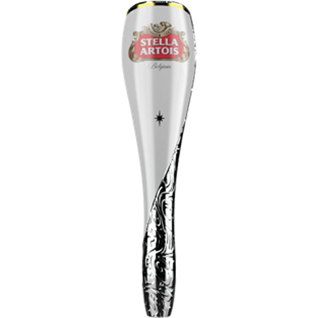 Stella Artois chalice inspired tap handle. With full color cartouche logo, gold rim and Stella Artois star.
