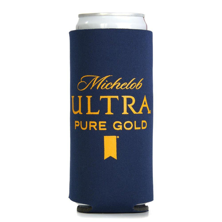 Navy Blue coolie with Michelob Ultra Pure Gold logo in yellow.  Sized to fit slim can.
