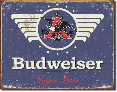 Budweiser 1936 Logo Blue Weathered Metal Sign