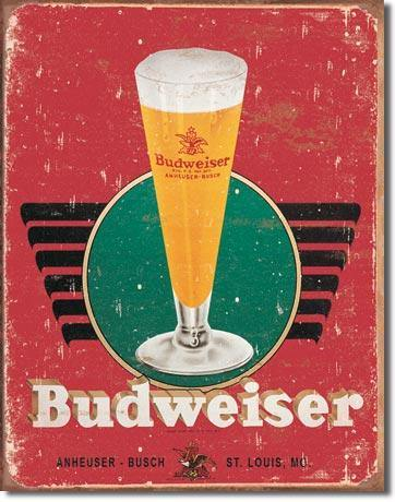 Bud Glass Metal Sign