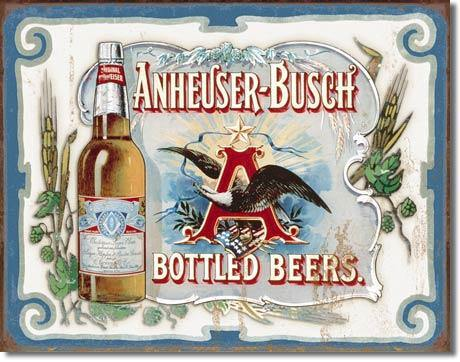Anheuser-Busch Bottled Beer A & Eagle Metal Sign