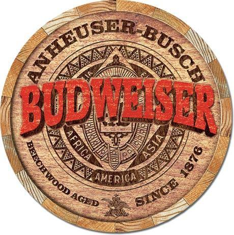 Bud Round Barrel Metal Sign