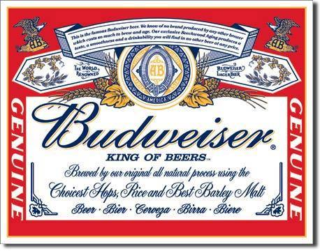Budweiser Label Metal Sign