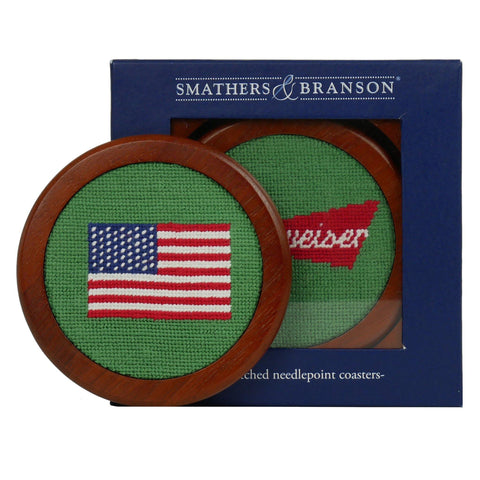 Smathers and Branson Budweiser/American Flag Coaster Set