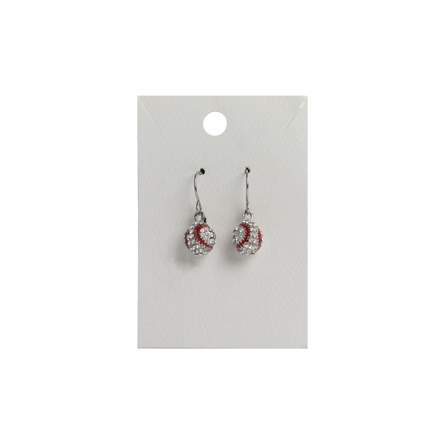 silver plated baseball earrings with baseball stitching design in red