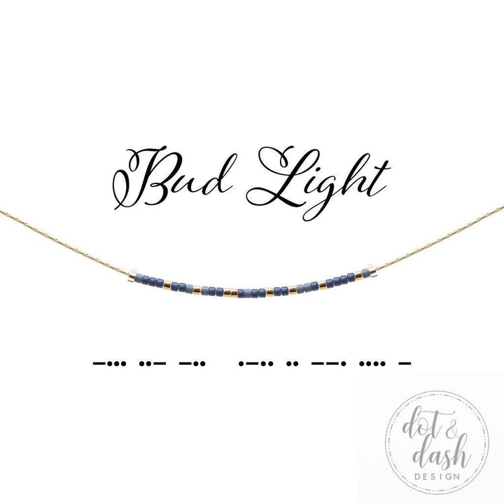 bud light dot and dash morse code necklace