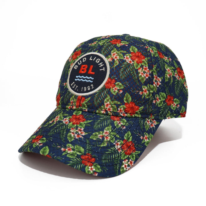 Bud Light brand beer hat with red Hibiscus flower design