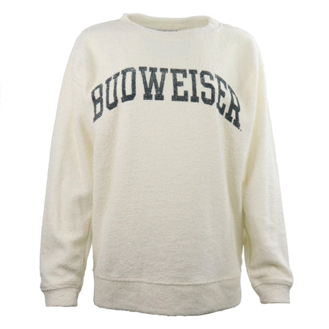 Ladies Budweiser Cozy Crew- Cream