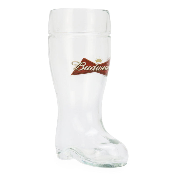 This is a half liter boot shaped glass with the Budweiser bowtie logo on the front. The back side is blank and can be customized for the perfect Birthday, Groomsmen, Wedding or Father's Day gift.