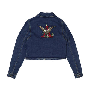 Oliver Logan Budweiser Ladies A & Eagle Crop Zip Denim Jacket