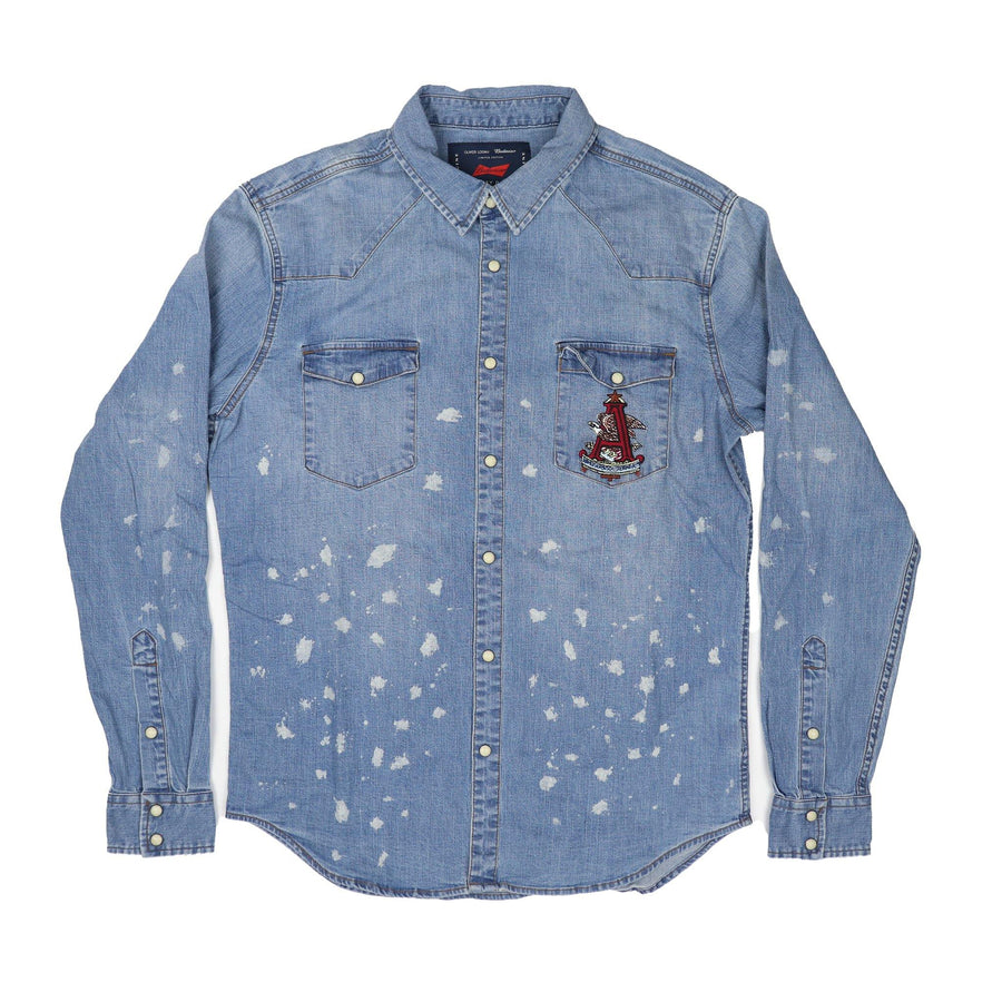 Oliver Logan A & Eagle Bleached Denim Shirt