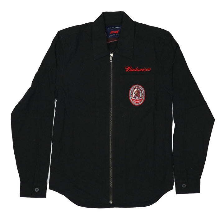Oliver Logan and Budweiser collaboration on this black denim jacket.  Carries the Script Budweiser logo on the left chest and vintage patch below.