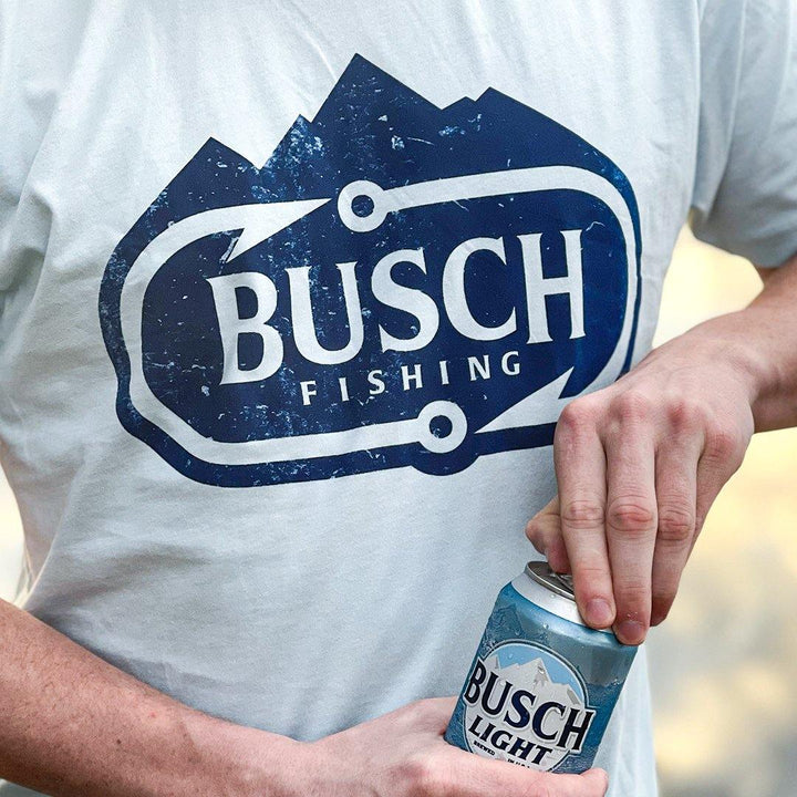 light blue busch fishing t shirt with the busch fishing logo centered in navy and light blue