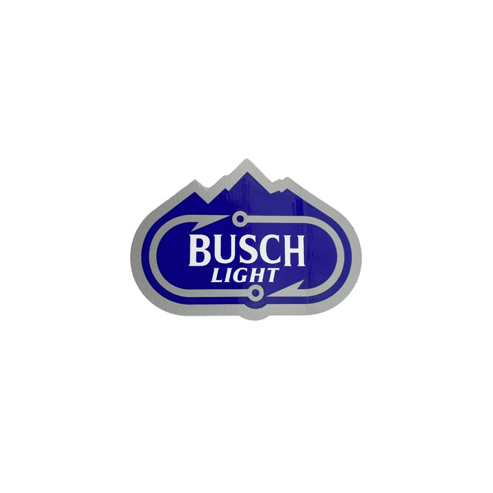 "2"" by 3"" Busch light fishing sticker in blue, white, and silver"
