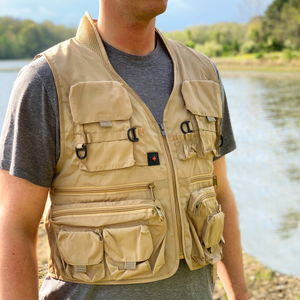 tan busch light fishing vest with the busch light logo on the back by the neck