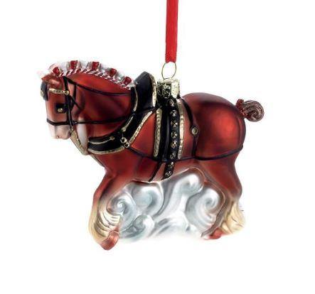 Budweiser Clydesdale Glass Ornament