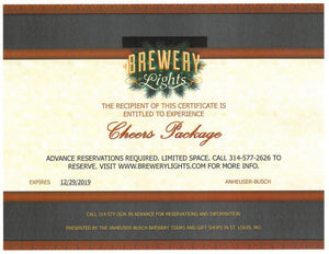 STL- Brewery Lights Holiday Cheer Package Certificate