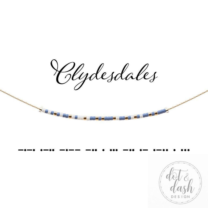 clydesdale dot and dash morse code necklace