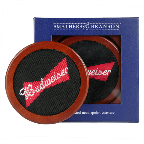 Smathers & Branson Budweiser Bowtie Needlepoint Coasters