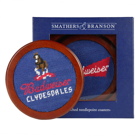 Smathers and Branson Budweiser Clydesdales Needlepoint Coaster Set