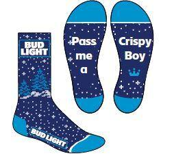 PRE-ORDER: Bud Light Crispy Boy Snowflake Socks