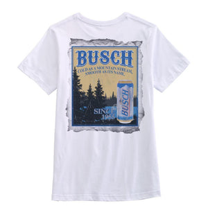 Busch Men's White Vintage T-Shirt - Back