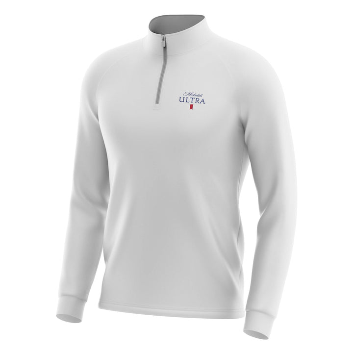 From Peter Millar a white Michelob Ultra quarter zip long sleeve sweater