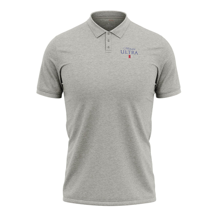 Men's short sleeved Polo Shirt light grey in color with Michelob Ultra logo on the left chest