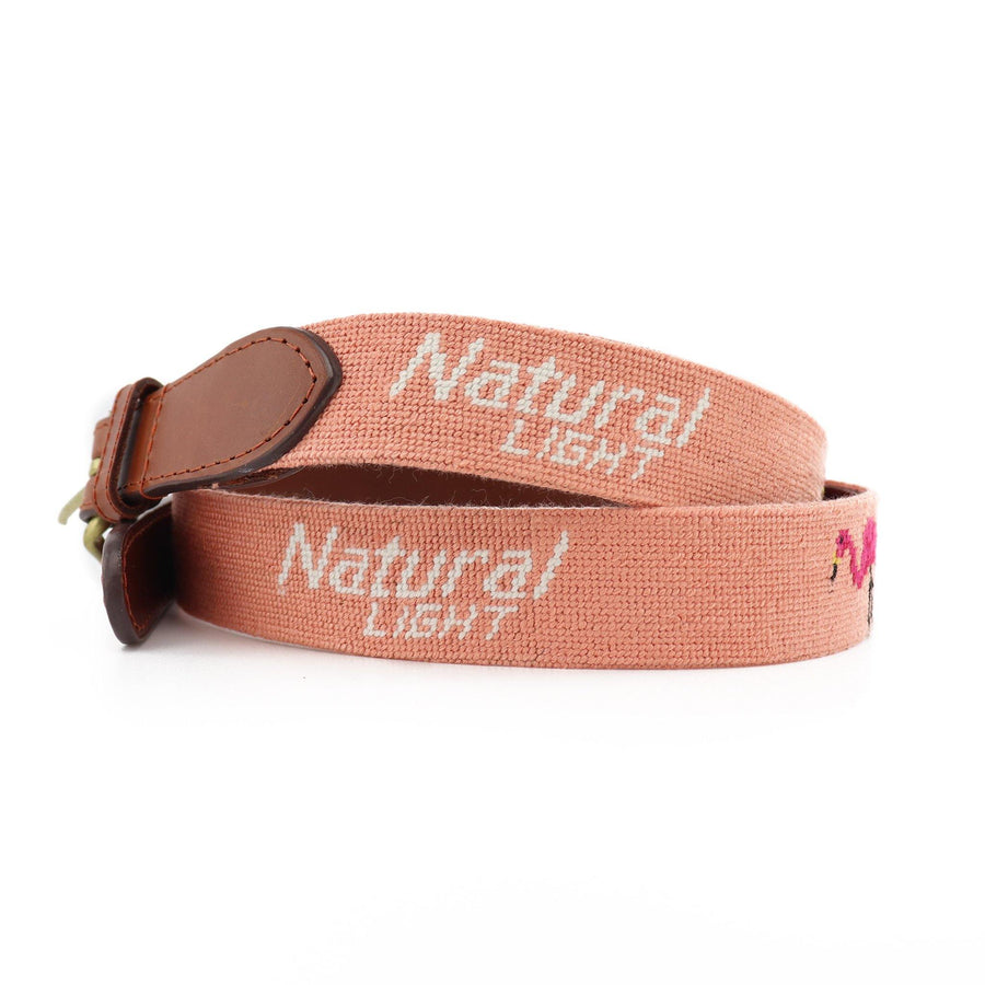 Smathers & Branson Natural Light Flamingo Needlepoint Belt