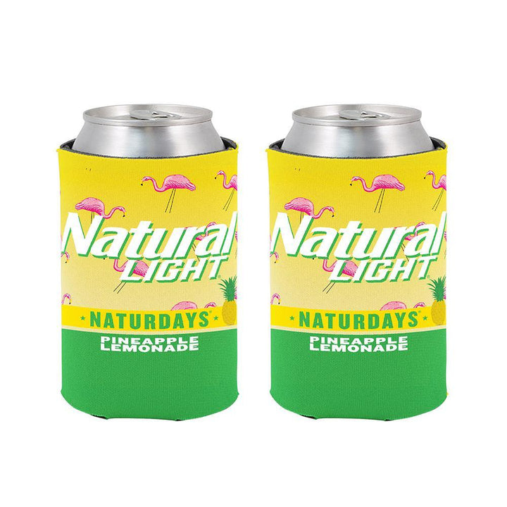 natural light naturdays pineapple lemonade beer can coolie with a pink flamingo pattern on a yellow and green background