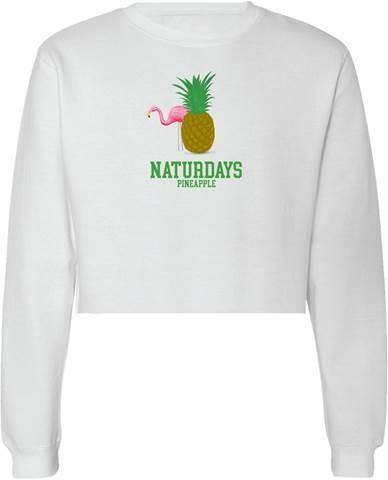 white naturdays pineapple lemonade crop sweatshirt with a flamingo and pineapple on the center of the shirt
