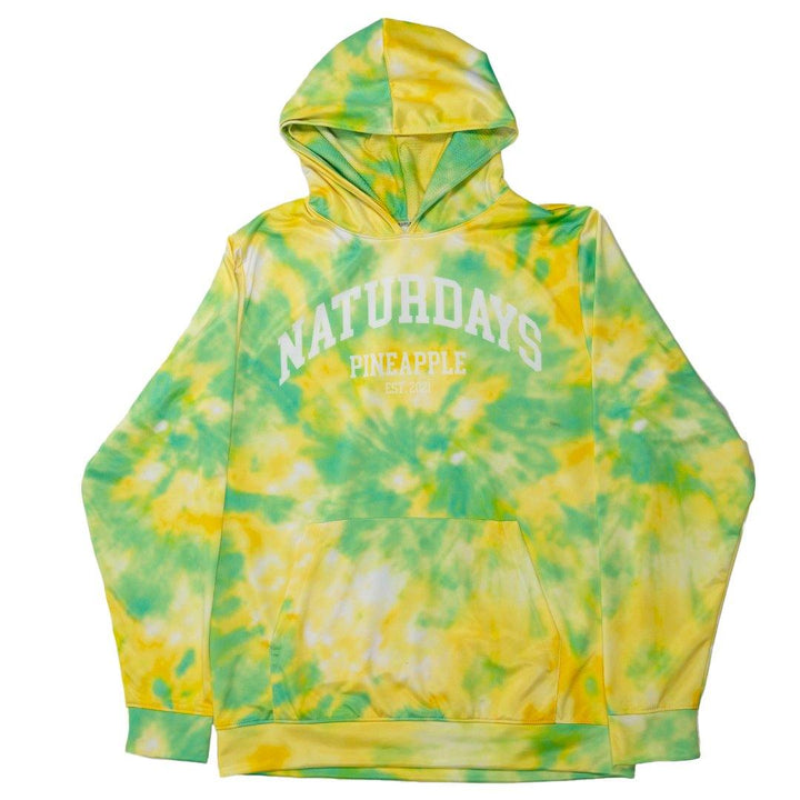 naturdays pineapple yellow and green tie dye polyester hoodie with a kangaroo pocket