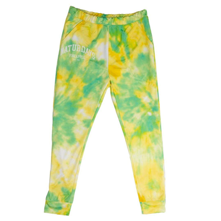 naturdays pineapple yellow and green tie dye polyester joggers with pockets, naturdays pineapple is on the right pocket in white