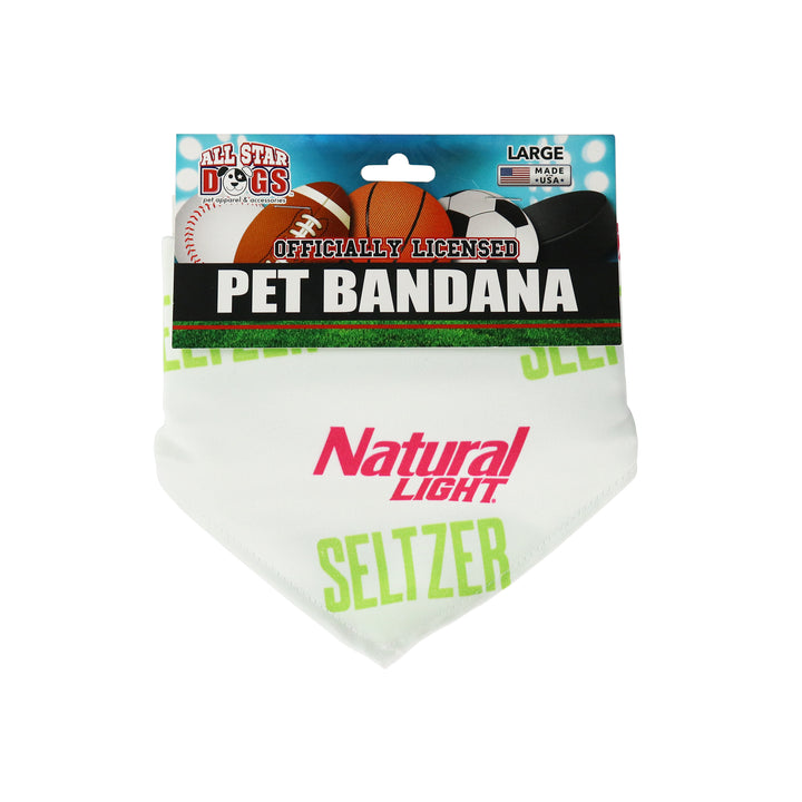 "white pet bandana with natural light seltzer logo in a scatterprint logo. the ""natural light"" is in a bright pink and the ""seltzer"" is in a neon green."