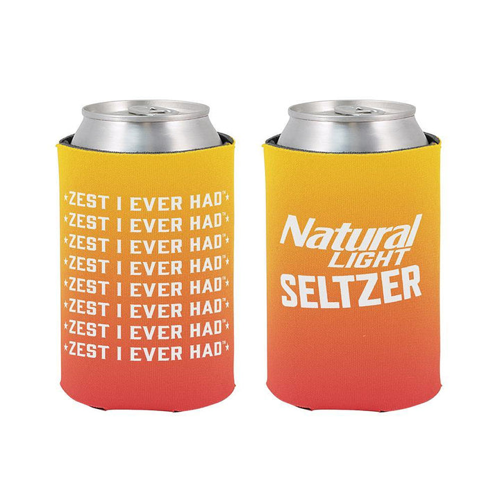 "natural light seltzer ombre beer can coolie with ""Zest I Ever Had"" tagline"