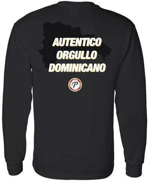 "black long sleeve presidente t shirt with ""AUTENTICO ORGULLO DOMINICANO"" in white capital letters on the back with a picture of the dominican republic in black and the presidente logo underneath."