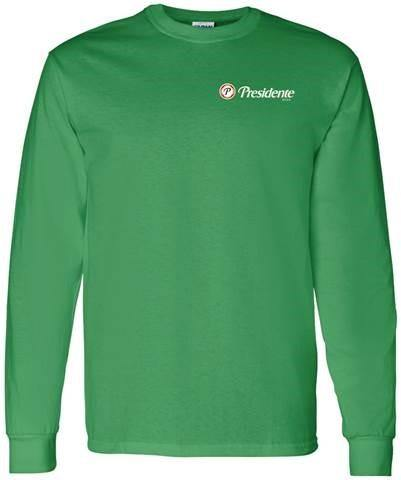 green presidente long sleeve shirt with presidente logo on the upper left chest area