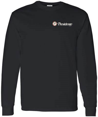 black long sleeve presidente t shirt with the presidente logo on the upper left chest