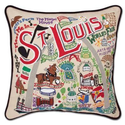 hand embroidered st. louis pillow from catstudio