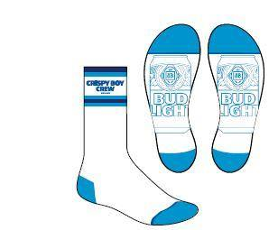 PRE-ORDER: Bud Light Crispy Boy Crew Socks- White