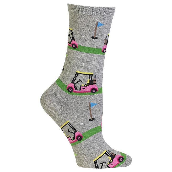 Womens Golf Cart crew socks.  Grey socks feature a pink and yellow golf cart design